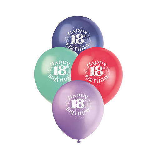 30cm 18th Birthday Printed Balloons 6 Pack