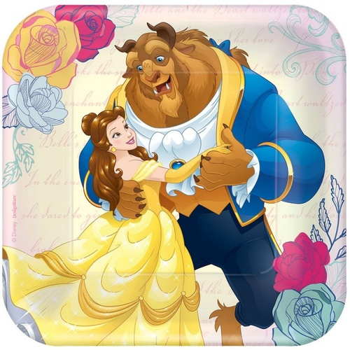 Beauty and the Beast Square Plate 18cm 8 Pack