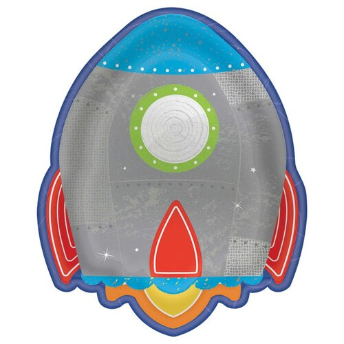 Blast Off Birthday Rocket Shaped Metallic Lunch Plates 19cm 8 Pack
