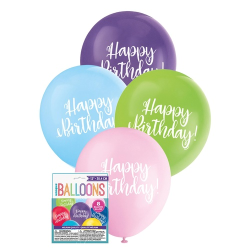 30cm  Printed Balloon - Happy Birthday  Printed Balloons 8 Pack