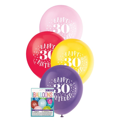 """8 X 12"""" Printed Balloon -30th Happy Birthday"""