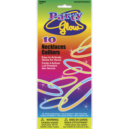Party Glow Necklace TriColour 10 Pack