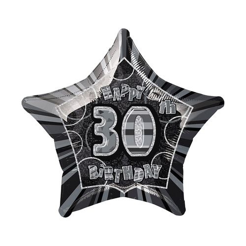 Glitz Black And Silver 30th Birthday star 50cm (20) Foil Balloon Packaged