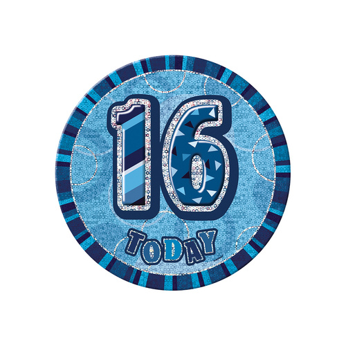 Glitz Blue Jumbo Birthday Badge - 16