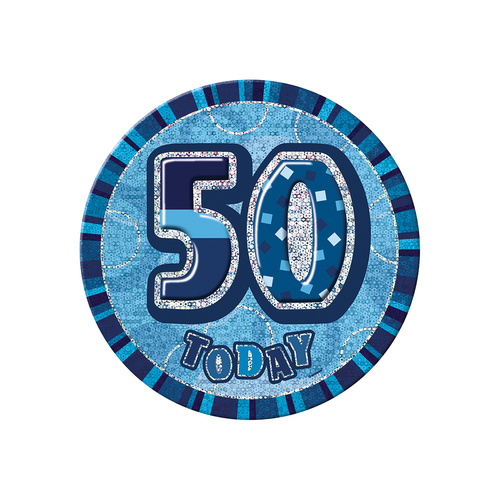 Glitz Blue Jumbo Birthday Badge - 50