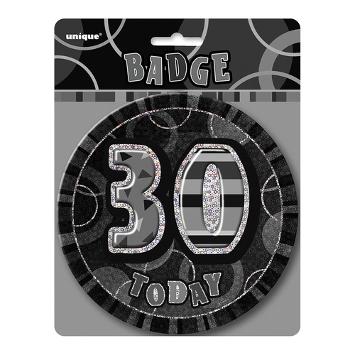 Glitz Black Jumbo Birthday Badge - 30