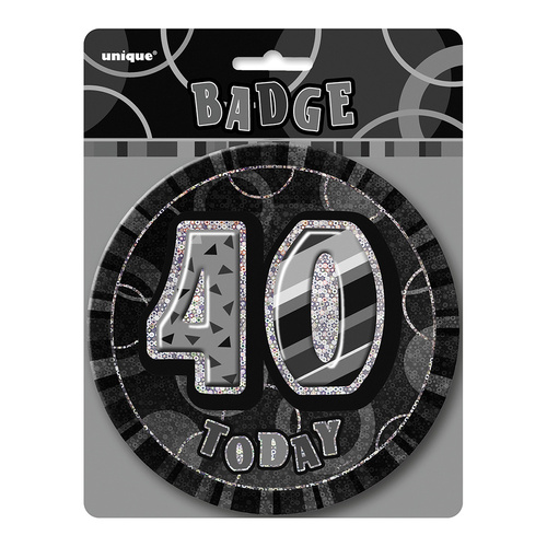 Glitz Black Jumbo Birthday Badge - 40