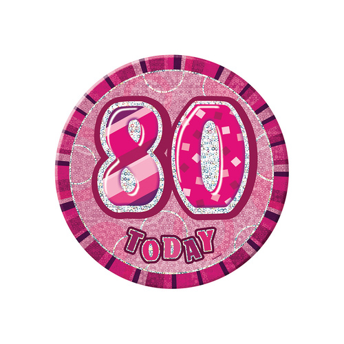 Glitz Pink Jumbo Birthday Badge - 80