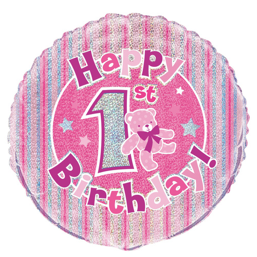 45cm 1st Birthday - Pink Foil Prismatic Balloons Packaged