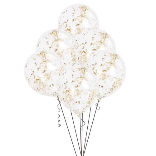 30.48cm Clear Balloons With Gold Confetti 6 Pack