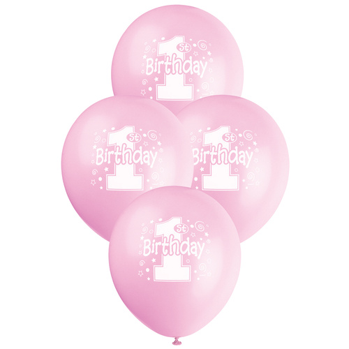 30cm Big 1st Birthday - Pastel Pink Printed Balloons 6 Pack