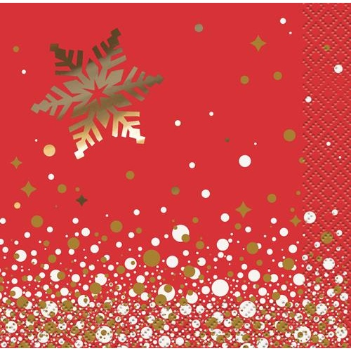 Gold Sparkle Xmas 16 Beverage Napkins
