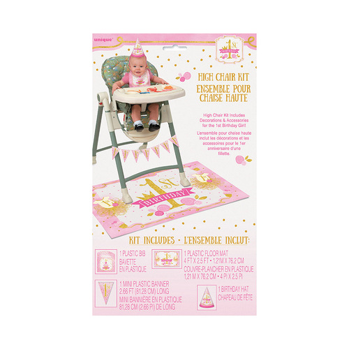 Pink & Gold 1st Birthday High Chair Kit