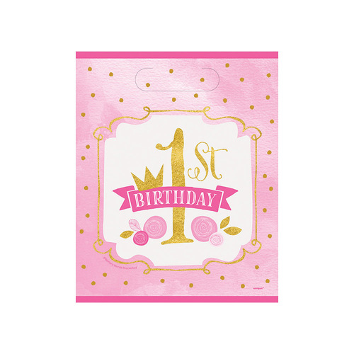 Pink & Gold 1st Birthday 8 Loot Bags