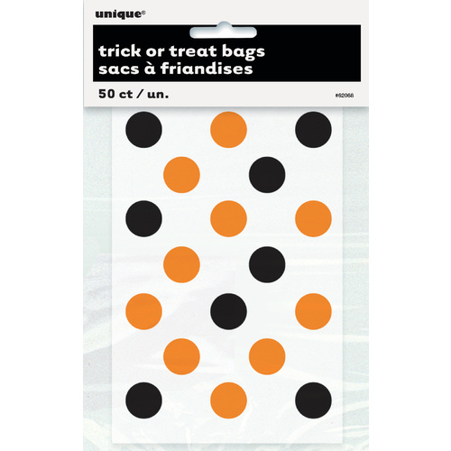 Dots Orange & Black Trick-Or-Treat Bags 50 Pack