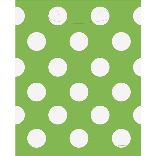 Dots 8 Loot Bags  - Lime Green
