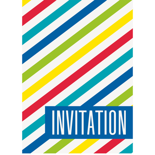 8 Bright Stripes Invitations
