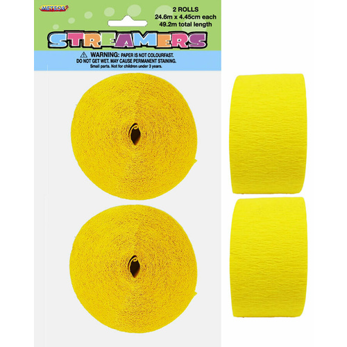 2 Crepe streamers- Soft Yellow