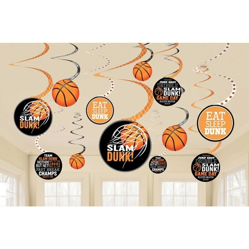 Nothin' But Net Basketball Spiral Hanging Decorations 12 Pack