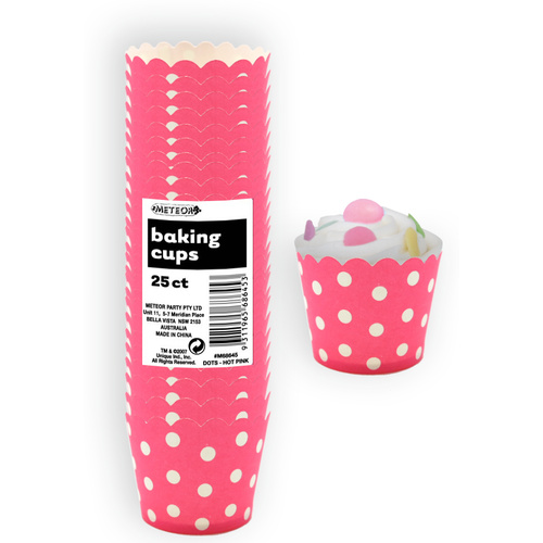 Dots Hot Pink Paper Baking Cups 25 Pack