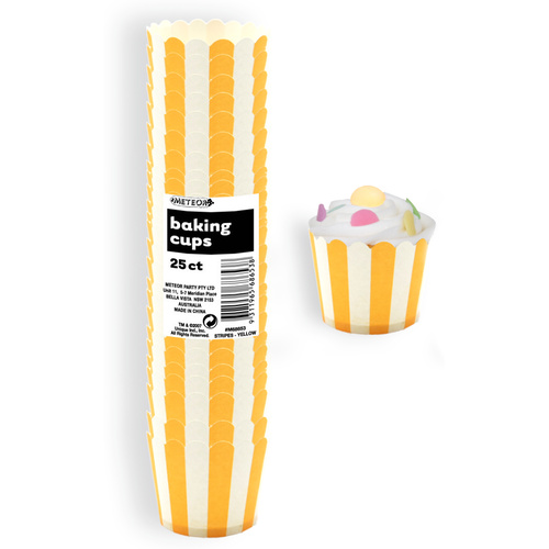 Stripes Sunflower Yellow Paper Baking Cups 25 Pack