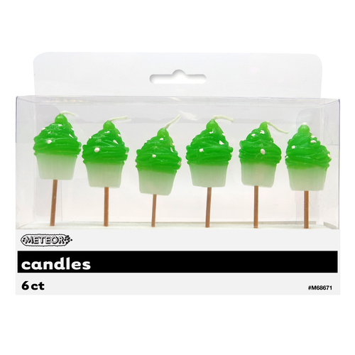 Dots 6 Cupcake Candles-Lime Green