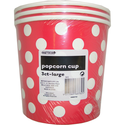 Dots 3 P/Corn Cups Lge - Red