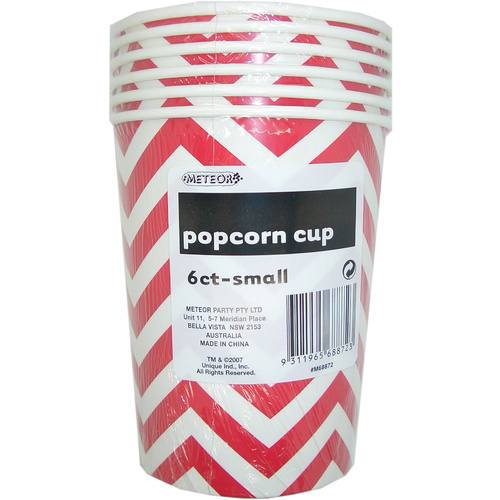 Chevron 6 P/Corn Cups Sml -Red