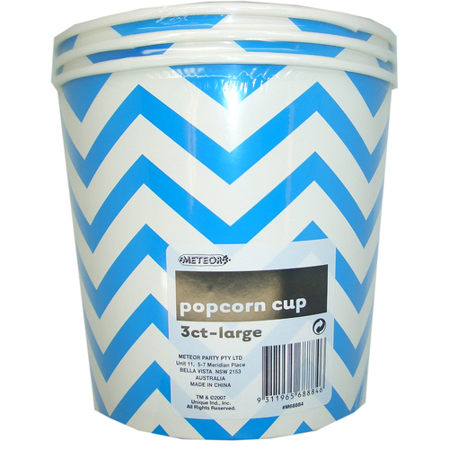 Chevron Cups Royal Blue Large Paper Popcorn Cups 3 Pack