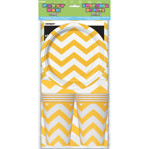 Chevron Party pk For 8- Yellow