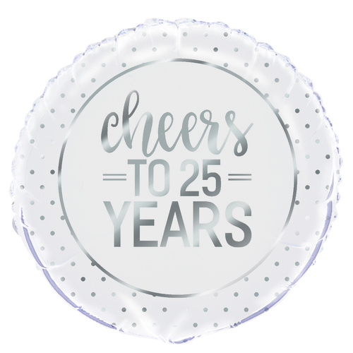 45cm Silver Dot Cheers To 25 Years Foil Balloon Packaged