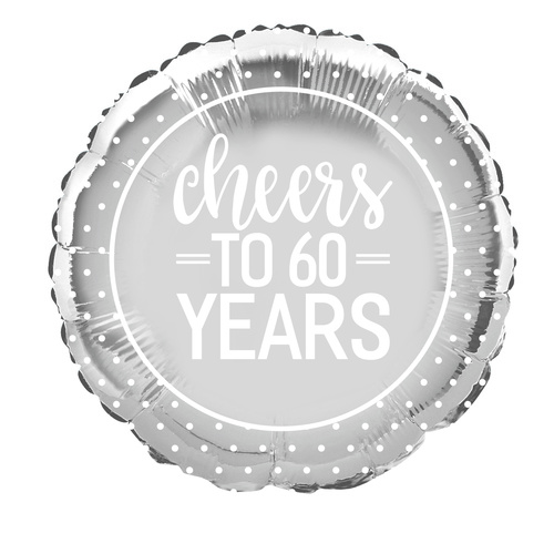 45cm Silver Dot Cheers To 60 Years Foil Balloon Packaged