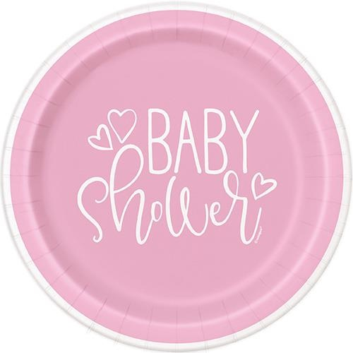 Baby Shower Pink Hearts 8 x 7 Paper Plates