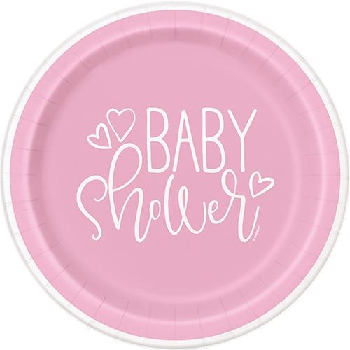 Baby Shower Pink Hearts 8 x 9 Paper Plates