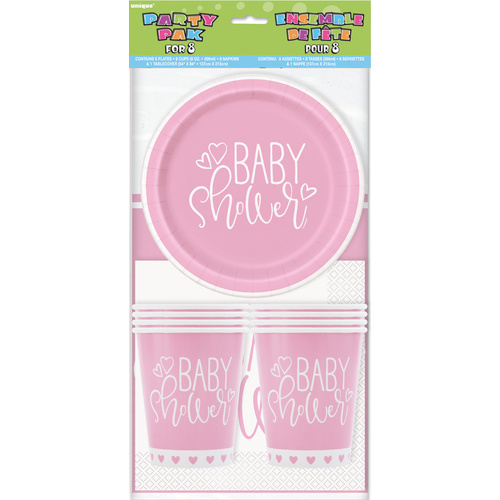 Baby Shower Pink Hearts Party Pack for 8