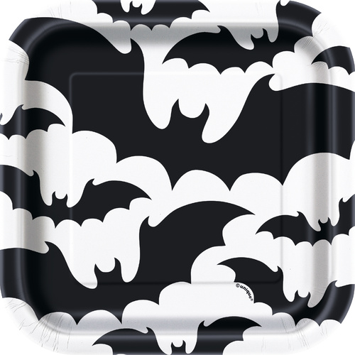 Black Bats Square Paper Plates 10  Pack