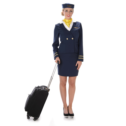 Blue Flight Attendant Costume