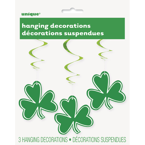 Shamrock 3 Hanging Swirl Decorations 90cm