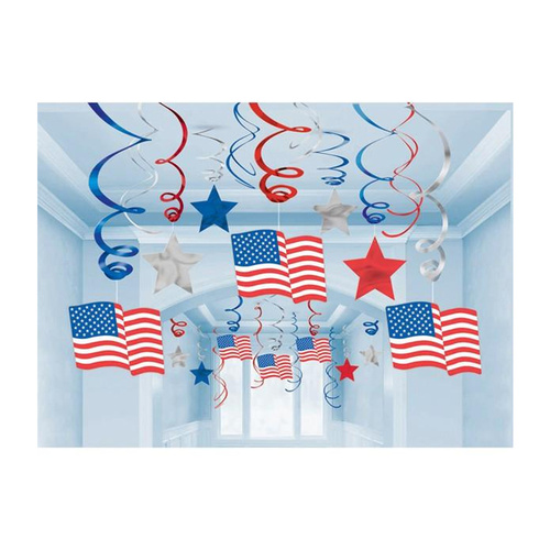 Hanging Decoration Swirls Patriotic American Flag Mega Value Pack.