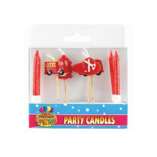 Fire Engine Pick Candles & 4 Candles & Holders Pack Of 8