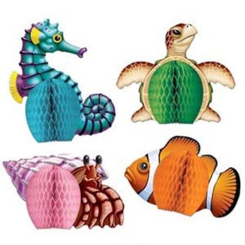 Mini Sea Creatures Honeycomb Centrepieces 4 Pack