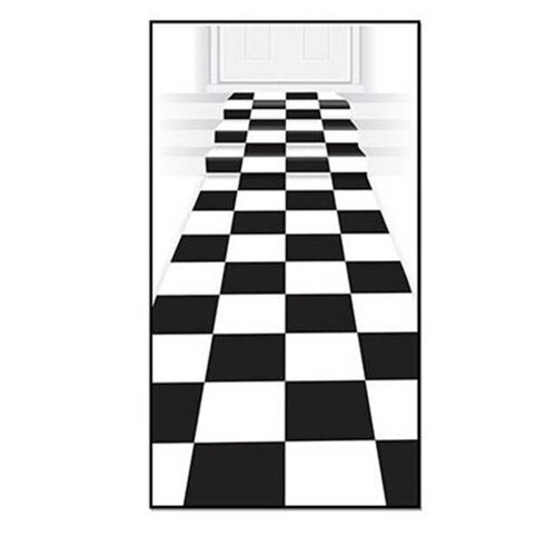 Checkered Carpet Floor Runner Black & White