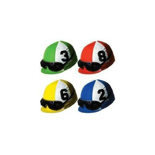 Cutouts Jockey Helmet (35cm) Assorted Colours - Printed 2 Sides Pack Of 4
