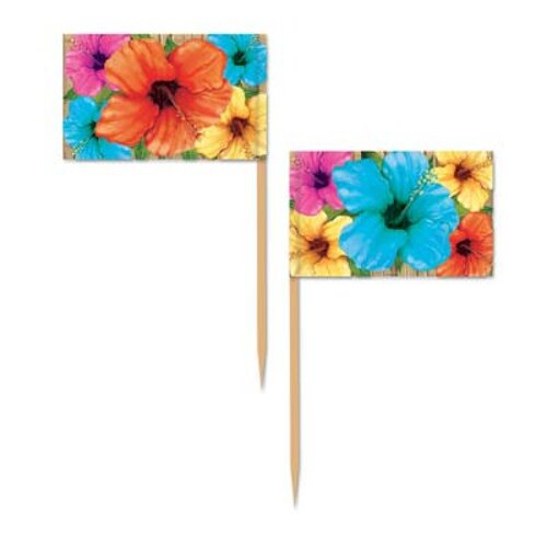 Luau Hibiscus Flowers Picks 50 Pack