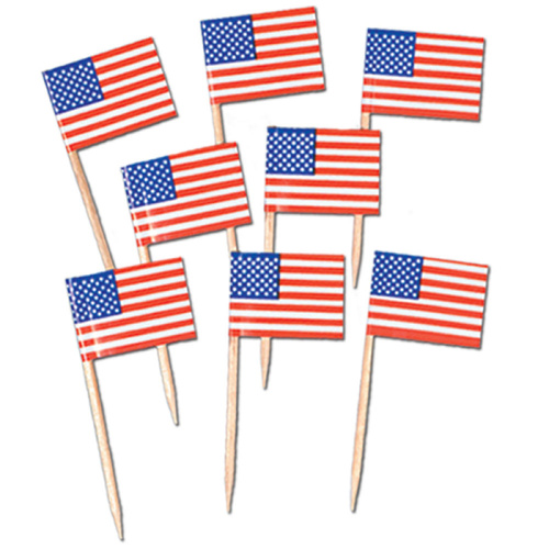 Picks Usa / American Flag (6.25cm High) Pack Of 50