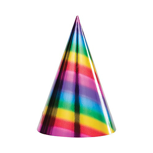 Rainbow Foil Cone Shaped Party Hats 8 Packs