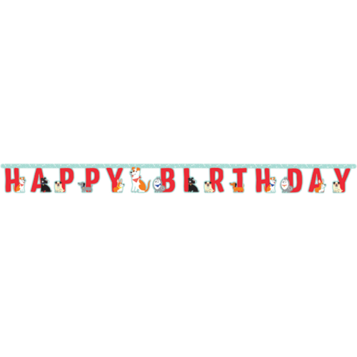 Dog Party Happy Birthday Jointed Banner 18cm x 220cm