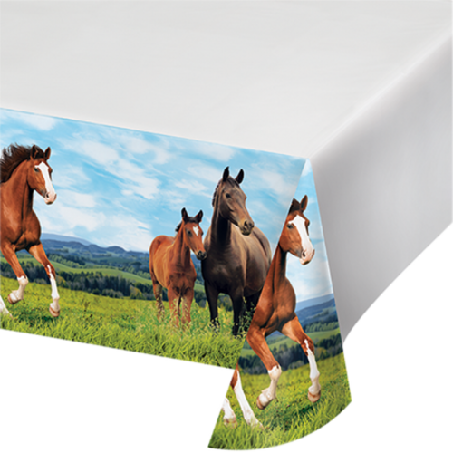 Horse and Pony Tablecover Plastic Border Print 137cm x 259cm