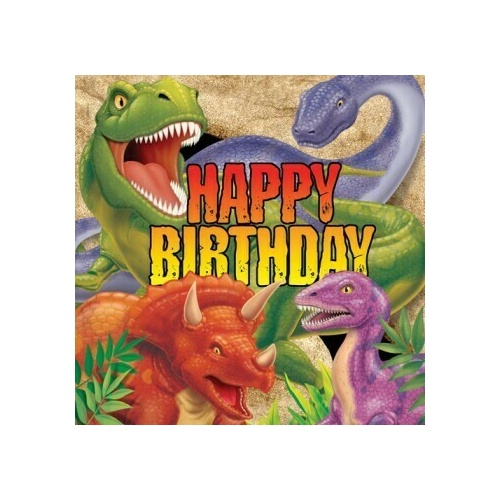 Dino Blast Lunch Napkins Happy Birthday 33cm x 33cm 3 Ply Pack Of 16