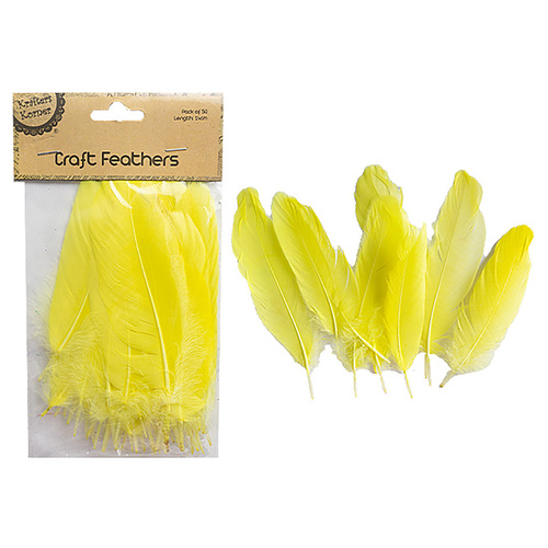 Craft 14cm Yellow Feathers Pk50